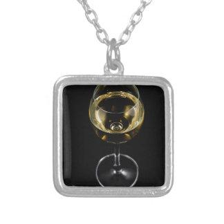 Colar Banhado A Prata vidro do champanhe