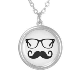 Colar Banhado A Prata Vidros do hipster & bigode do guiador