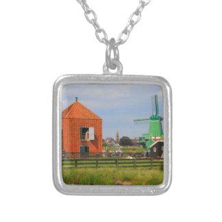 Colar Banhado A Prata Vila holandesa do moinho de vento, Holland 4