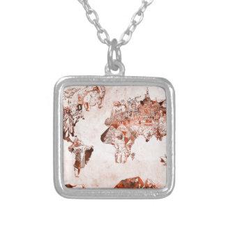 Colar Banhado A Prata vintage 3 do mapa do mundo