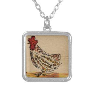 Colar Banhado A Prata Vintage da galinha
