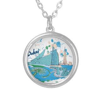 Colar Banhado A Prata vintage Dubai nós design de e