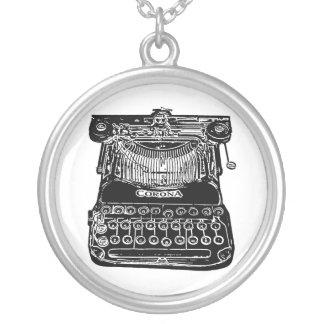 Colar Banhado A Prata Vintage, velha escola, máquina de escrever