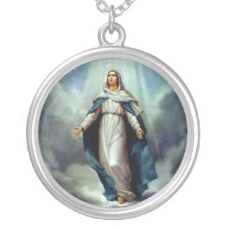 Colar Banhado A Prata Virgem Maria abençoada - mãe do deus