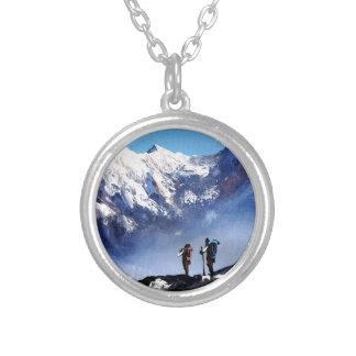 Colar Banhado A Prata Vista panorâmica da montanha máxima de Ama Dablam