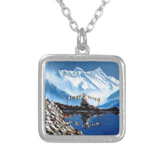 Colar Banhado A Prata Vista panorâmica da montanha Nepal de Annapurna