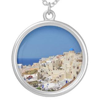Colar Banhado A Prata Vista panorâmica de Santorini