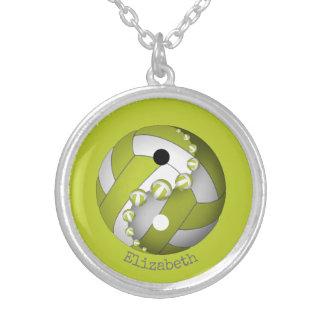 Colar Banhado A Prata Voleibol do limão de Yin e de yang ou das ALGUMAS