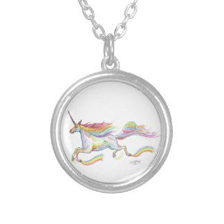 Colar Banhado A Prata Voo do pônei do cavalo de Pegasus do unicórnio do