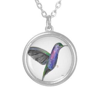 Colar Banhado A Prata Watercolour roxo do colibri