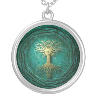 Colar Banhado A Prata Yggdrasil /Tree do pendente da vida