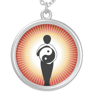 Colar Banhado A Prata Yin Yang