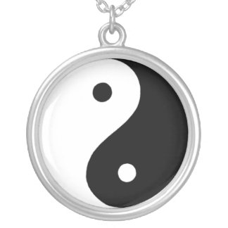 Colar Banhado A Prata Yin/Yang