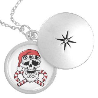 Colar Banhado A Prata Yo ho ho - papai noel do pirata - Papai Noel