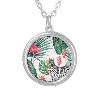 Colar Banhado A Prata Zebra e flamingo tropicais da cópia da aguarela