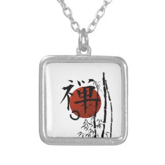 Colar Banhado A Prata Zen do Kanji com Enso e bambu