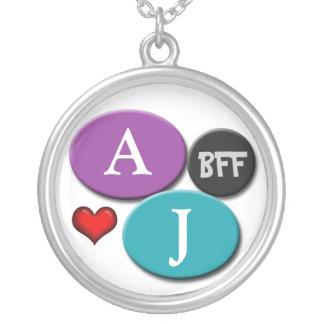 Colar branca redonda roxa & azul da amizade de BFF