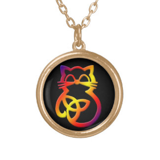 Colar celta do gato do nó da trindade do arco-íris