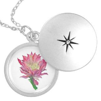 Colar cor-de-rosa da flor do cacto da aguarela