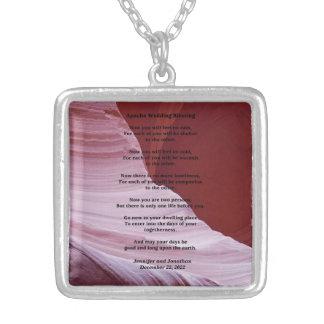 Colar da foto da garganta da bênção do casamento colar com pendente quadrado