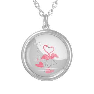 Colar da lua do amor do flamingo grande