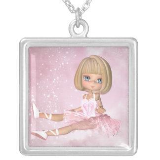 Colar de prata Ballarina pequeno bonito - balé
