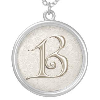 Colar de prata do monograma - letra B
