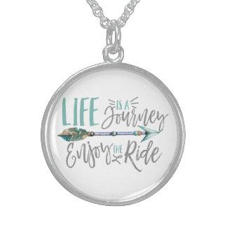 Colar De Prata Esterlina A vida é uma viagem aprecia o Wanderlust de Boho