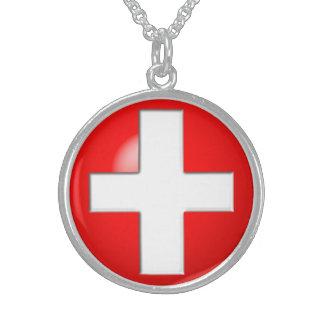 Colar De Prata Esterlina Alerta médico - vermelho
