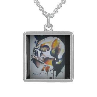 Colar De Prata Esterlina Arte do crânio no encanto da prata esterlina