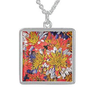 Colar De Prata Esterlina Arte floral colorida