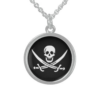 Colar De Prata Esterlina Bandeira de pirata alegre de Roger