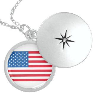 Colar De Prata Esterlina Bandeira dos Estados Unidos da bandeira dos EUA