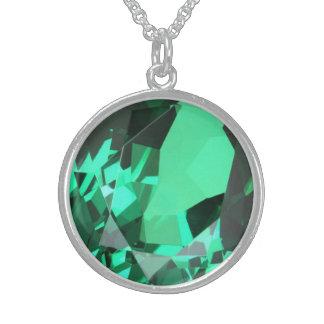 Colar De Prata Esterlina Birthstone esmeralda verde rico de maio