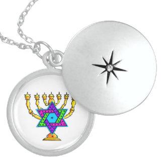 Colar De Prata Esterlina Castiçal da estrela de David