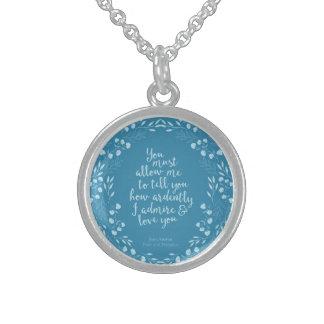 Colar De Prata Esterlina Citações florais Jane Austen do orgulho e do amor
