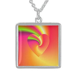 Colar De Prata Esterlina Coração do amor do redemoinho do arco-íris