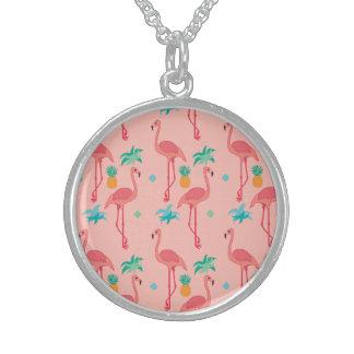 Colar De Prata Esterlina Coral do flamingo