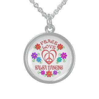 Colar De Prata Esterlina Dança da salsa do amor da paz