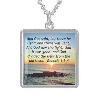 Colar De Prata Esterlina Design sereno da bíblia do 1:3 da génese do nascer