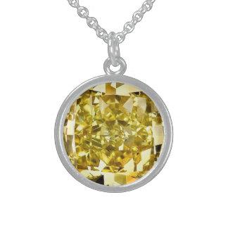 Colar De Prata Esterlina Diamante amarelo