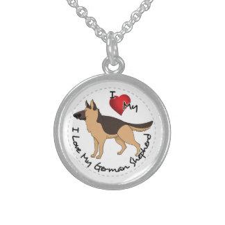 Colar De Prata Esterlina Eu amo meu cão de german shepherd