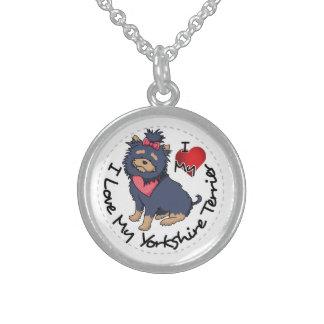 Colar De Prata Esterlina Eu-Amor-Meu-Yorkshire-Terrier