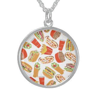 Colar De Prata Esterlina Fast food colorido da ilustração do teste padrão