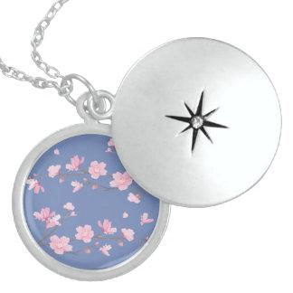 Colar De Prata Esterlina Flor de cerejeira - Transparente-Fundo