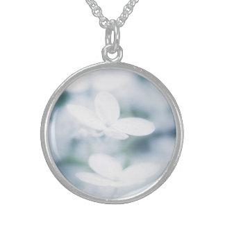 Colar De Prata Esterlina Flores brancas bonitas