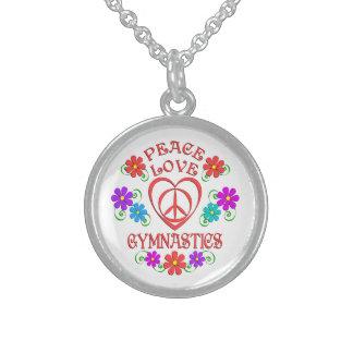 Colar De Prata Esterlina Ginástica do amor da paz