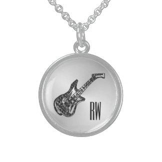 Colar De Prata Esterlina Guitarra elétrica em pessoal de prata