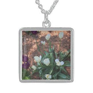 Colar De Prata Esterlina Jardim das flores brancas da tulipa da neve