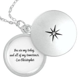 Colar De Prata Esterlina Locket da prata esterlina das citações de Leo